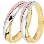 Online Verkäufe Trauringpaar Saturn Trilogie - Tricolor - 9 Karat Gold