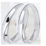 Geschenk Frauen Trauringpaar Saturn Trilogie - Weißgold - 18 Karat Gold