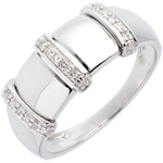 gold jewelry Triad ring white gold - 9 diamonds