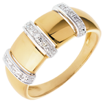 gift women Triade ring yellow gold - 9 diamonds