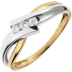 Trilogía Brillo Eterno - Solfeo - oro blanco y amarillo - 3 diamantes - 18 quilates