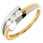 Trilogie Bipolaire - 3 diamants 0.28 carats - or blanc et or jaune 18 carats