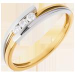 Geschenke Frau Trilogie das Kostbarer Kokon - Anziehungskraft - Gelb und Weißgold- 3 Diamanten 0. 12 Karat