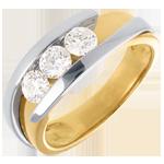 Geschenke Trilogie das Kostbarer Kokon - Anziehungskraft - Gelb und Weißgold - sehr großes Modell - 3 Diamanten 0. 77 Karat - 18 Karat