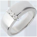 Trilogie étreinte or blanc 18 carats - 3 diamants