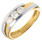 bijou or Trilogie Nid Précieux - Bipolaire - or jaune et or blanc - 0.53 carat - 3 diamants - 18 carats