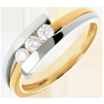 Juwelier Trilogie Ring Bipolar in Weiss- und Gelbgold - 0.28 Karat - 3 Diamanten