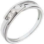 Trilogie-Ring Bipolar - Weißgold mit 3 Diamanten