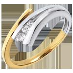 Geschenk Frauen Trilogie-Ring Goldener Fisch - Gelbgold und Weissgold mit 3 Diamanten