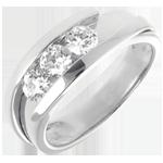 Trilogie Ring Kostbarer Kokon - Anziehungskraft -Großes Modell - Weißgold - 3 Diamanten 0.77 Karat - 18 Karat