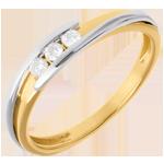 Trilogie Ring Kostbarer Kokon - Anziehungskraft - Weiß-und Gelbgold - 3 Diamanten 0.11 Karat - 18 Karat