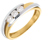 Online Verkauf Trilogie Ring Kostbarer Kokon - Anziehungskraft - Weiß-und Gelbgold - Diamant 0.38 Karat - 18 Karat