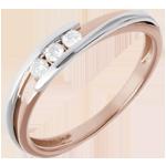Juweliere Trilogie Ring Kostbarer Kokon - Anziehungskraft -Weiß- und Roségold - 3 Diamanten 0.11 Karat - 18 Karat