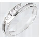 Trilogie Ring Kostbarer Kokon - Anziehungskraft - Weißgold - 3 Diamanten 0.38 Karat - 18 Karat