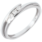 Trilogie Ring Kostbarer Kokon - Anziehungskraft - Weißgold - 3 Diamanten 0.11 Karat - 18 Karat