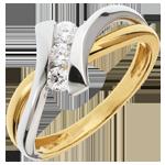 Geschenk Frau Trilogie Ring Kostbarer Kokon - Dolce Vita -Weiß-und Gelbgold - 3 Diamanten 0.22 Karat - 18 Karat