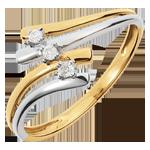 Geschenke Frauen Trilogie Ring Kostbarer Kokon - Firmament -Weiß-und Gelbgold - Diamant 0.05 Karat - 18 Karat