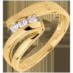 Geschenke Frauen Trilogie Ring Kostbarer Kokon - Najade - Gelbgold- 3 Diamanten - 18 Karat