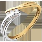 Goldschmuck Trilogie Ring Kostbarer Kokon - Rauhreif -Weiß-und Gelbgold - Diamant 0.07 - 18 Karat