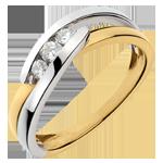 Trilogie Ring Kostbarer Kokon - Serenade -Weiß-und Gelbgold - 3 Diamanten - 18 Karat