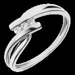 Hochzeit Trilogie Ring Kostbarer Kokon - Tango - Weiß-und Gelbgold - 3 Diamanten 0.07 Karat - 9 Karat