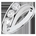 Schmuck Trilogie Ring Kostbarer Kokon - Weiblichkeit - Weißgold - 3 Diamanten 1 Karat - 18 Karat