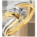 Online Verkäufe Trilogie Ring Kostbarer Kokon - Zeitlose - Gelb und Weißgold - 3 Diamanten - 18 Karat