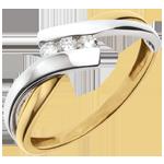 Geschenk Trilogie Ring Kostbarer Kokon - Zweierlei Gold - 3 Diamanten