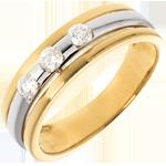 Geschenke Frau Trilogie Ring Sonnenfinsternis in Weiss- und Gelbgold - 0.24 Karat - 3 Diamanten