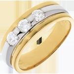 Geschenke Frau Trilogie Ring Sonnenfinsternis in Weiss- und Gelbgold - 0.44 Karat - 3 Diamanten