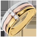 Trilogie-Ring Trinidad - Weissgold, Gelbgold und Rotgold mit 3 Diamanten