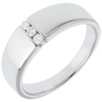 gift woman Trilogy band-white gold - 3 diamonds