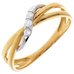 Trilogy hoop ring yellow gold-white gold - 3diamonds