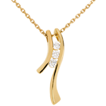 weddings Trilogy Necklace Precious Nest - Dynamic aeria - yellow gold - 3 diamonds