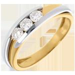 Trilogy Nid Précieux - Tweepolig - Wit Goud Geel Goud - 0.38 karaat - 3 Diamanten - 18 karaat