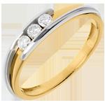 Trilogy Nido Prezioso - Bipolare - Oro giallo e Oro bianco - 18 carati - 3 Diamanti - 0.156 carati