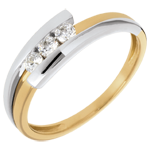 sell Trilogy Precious Nest - Bipolar- yello gold and white gold - 3 diamonds - 0.019 carat - 18 carats