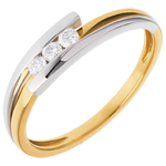 gift woman Trilogy Precious Nest - Bipolar - yellow and white gold - 3 diamonds - 0.12 carat