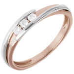 gift woman Trilogy Precious Nest - Bipoplar- pink gold and yellow gold - 0.11 carat - 18 carats
