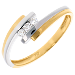 gold jewelry Trilogy Precious Nest - Double Jonc- white and yellow gold - 18 carats