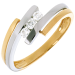 sell on line Trilogy Precious Nest - Double-swing - white and yellow gold - 3 diamonds -18 carats
