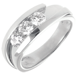 Trilogy Precious Nest - Interlocking (Very big model) - white gold - 0.77 carat - 3 diamonds - 18 carats