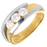 gold jewelry Trilogy Precious Nest - Interlocking- yellow gold and white gold (Very big size) - 0.77 carat - 3 diamonds - 18 carats