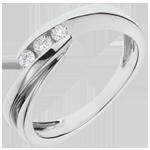 Trilogy Ring Nid Précieux - Ritounelle - Wit Goud - 3 Diamanten - 18 karaat