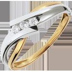 Trilogy Ring Nid Précieux - Solfege - Wit Goud Geel Goud - 3 Diamanten - 18 karaat