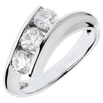 Trilogy ring Precious Nest - Feminine - white gold - 1 carat - 18 carats
