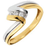 gift Trilogy Ring Precious Nest - Infinity - yellow and white Gold - 3 dimaonds - 18 carats