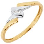 Trilogy Ring Precious Nest - Melody - 0.04 carat - yellow and white gold - 18 carats