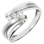 gift woman Trilogy Ring Precious Nest - Naiad - white gold - 3 diamonds