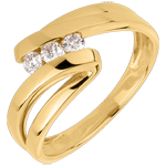 gift Trilogy Ring Precious Nest - Naiad - yellow gold - 3 diamonds - 18 carats